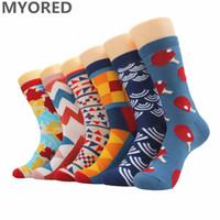Meias masculinas Myured 6Pairs / lote Mens penteado algodão colorido engraçado novidade feliz Natal presente me sock para vestido de negócios casual