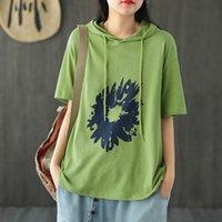 T-shirt das mulheres Johnature Mulheres Solta Retro Imprimir Manga Curta Com Capuz 2021 Verão Simples Confortável All-Match Tops Camisetas