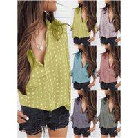 Womens Wave Point Blouses Fashion Trend Long Sleeve Loose Pl...