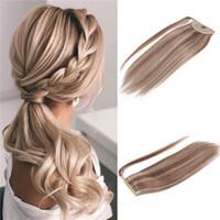 Destaques envolver em torno de cabelo rabo de cavalo Virgens Extensões de cabelo humano misturar Clipe Loiro cor em Rabo de Remy do brasileiro Pieces cabelo 100g