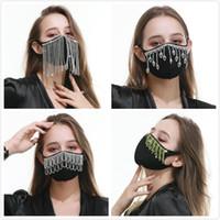 Borla larga del Rhinestone de la mascarilla facial máscaras protetive cubierta de cristal de diamante de la chispa reutilizable lavable de algodón para el polvo anti Adolescente