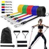 US-Lager 11pcs / set Latex Widerstand Bands Crossfit Training Übung Yoga-Röhren Pull-Seil Gummi-Expander-Elastizbänder Fitnessgeräte