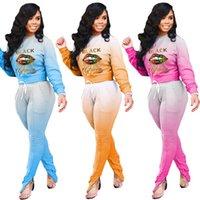 Kadın Eşofman Degrade Renkler Dudaklar Mektup Yazdırıcı Tasarımcı Uzun Kollu T Gömlek Pantolon İki 2 Parça Set Rahat Spor Streetwear Kıyafetler
