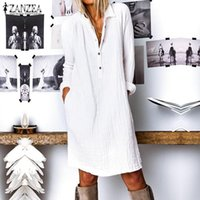 Vestidos casuales Zanzea 2021 Otoño Moda Sólido Camisa larga Vestido Elegante Trabajo Sundress Sundress Mujer Solapa Manga Algodón Vestido Femme