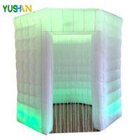 Yüksek kaliteli 8ft LED şişme fotoğraf kabini arka Parti için Sekizgen Düğün fotoğraf kulübesinde çadır değiştirme Çoklu renk standı