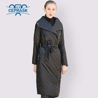 Женщины Parkas Ceprask 2021 Высокое Качество Пальто Весна Осень Тонкая Parka X-Long Плюс Размер 6xL Дизайн Европы с ременькой Женщин Куртка