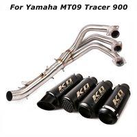 Слип для MT09 MT09 Tracer 900 мотоциклов Всей системы Выхлопной побег Советов Глушитель труба Black Front Header Connect Pipe