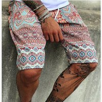 Hombres Casual Pantalones cortos de verano nuevo macho de impresión Medio cintura con cordón hawaiano de la playa pantalones cortos de los hombres respirables de secado rápido corto