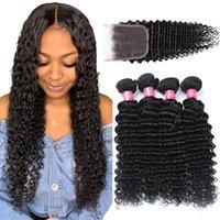 Peruvian Virgin Hair Deep Wave With Lace Closure Brazilian Deep Wave 3 Bundles med 4x4 Stängning Obehandlade Peruanska Human Hair Extensions