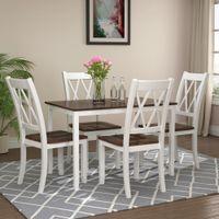 ファースト送料無料5ピースダイニングテーブルセットホームキッチンテーブルと椅子の食事セット(ホワイト+チェリー)SH000088AAK