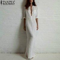 ZANZEA 2020 Maxi Vestidos Femmes Occasionnels Sexy Robe col en V profond à manches longues Tunique Maxi robes Femael Party de Split Plage Robe