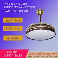 Lampe à ventilateur invisible Simple et moderne Salon Chambre à coucher de plafond Ventilateur de ventilateur de plafond LED Chandelier silencieux