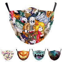 Cadılar bayramı Balkabağı Baskılı Yüz Maskesi Ayarlanabilir Kulak Döngü PM2.5 Koruyucu 3D Kafatası Yıkanabilir Kullanımlık Bez Maskeleri