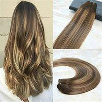 Gerçek Saç Çift Atkı İnsan Saç Uzantıları BALAYAGE Ombre Remy Saç Rengi 4. Koyu Kahverengi Fading # 27 Bal Sarışın Ombre Rengi kaliteli için