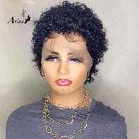 Atina 150 180 250 Densidad 13x4 Frente de encaje Peluca de cabello humano Pre doblado Brasileño Remy 4x4 Cierre de encaje Peluca para mujeres negras