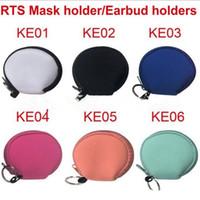 Máscara multifuncional Neoprene pequeno Coin Purse Rosto Suporte para auriculares sacos de zíper impressão 60pcs Zipper Coin Pouch YYA440 Bolsa sólidos