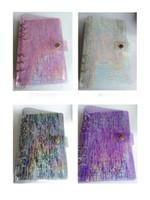 A6 Binder Cobertura Recarregável Notebook Shell Rainbow Laser Binder Transparente Notebook Diário Capa Caderno Planejador Pasta Solui