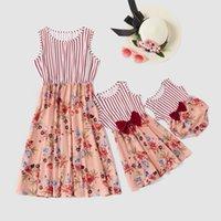 مطابقة الأسرة وتتسابق الأزياء زهرة الشريط خياطة BOWKNOT الصدرية الأم الطفل ابنة مطابقة اللباس الأم والطفل الصدرية اللباس S467