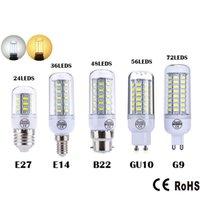 울트라 밝은 SMD5730 E27 E14 LED 램프 7W 9W 12W 15W 18W 220V 360 각도 5730 SMD LED 옥수수 전구 빛 24led 36led 48led 56LED 샹들리에