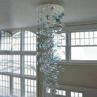 """Moderna soffiato Bubble Glass Chandelier Turchese e Clear Color 108"""" High rotonda LED Lampadario di cristallo per il salone Scala Home Decor-L"""