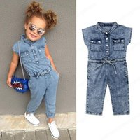 INS Baby girls Denim romper children Bow cowboy Jumpsuits 2019 summer fashion Boutique kids Clothing