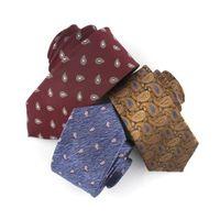 Corbatas del cuello Linbaiway 6cm Slim para el poliéster para hombre TIE Jacquard Anacardo Vestido Flor del anacardo Frío Skinny Cravate Corbata Logotipo personalizado