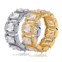 18K Bling rettangolo CZ Cubic Zirconia Hip Hop Mens Band Ring personalizzato ghiacciato fuori il diamante pieno Rapper Gioielli Regali per gli uomini le donne