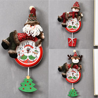 Christmas Hanging Clock Santa Claus Snowman Christmas Hanging Wall Clock Merry Xmas Home Restaurant Bedroom Clocks Decoration LJJP295