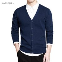 Varsanol Sweater Cotton Men manga comprida Cardigan Mens V-Neck Blusas soltas Tecla contínua Fit Knitting roupa do estilo New CX200818