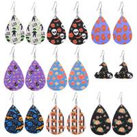 Heißer Verkaufs-Halloween-Leder-Ohrringe für Frauen Wasser-Tropfen-Kürbis-Geist-Schädel-Hand Bat Laterne doppelseitig bestückte Ohrringe