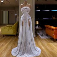 New Dubai Style de White Glitter Prom Robe longue une épaule musulmane sirène Parti Robes de soirée Celebrity Runaway Red Dress Carpet