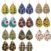 Femmes en cuir PU Earings Filles Bijoux Fashion Waterdrop Boucles d'oreilles Creative Daisy Tournesol Floral Double Sides Imprimé Teardrop Earbob D9208