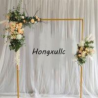 Düğün Sahne Kare Metal Yol Lideri Süslemeleri Ev Parti Arka Plan Demir Çelenk Çiçek Stand