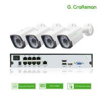 4CH 1080P POE كيت H.265 نظام الأمن CCTV 8CH NVR 2.0MP في الهواء الطلق مقاوم للماء كاميرا مراقبة IP إنذار الفيديو P2P G.