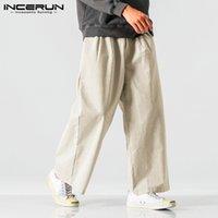 Erkek Pantolon Erkekler Incerun Eğlence Katı Renk Sonbahar Cepler Geniş Bacak Pantolon Vintage Fermuar Gevşek Nefes S-5XL