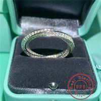 Anello dita SOILD 925 Sterling Silver Promise Diamond Cross Engagement Anelli di nozze per le donne regalo