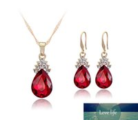 Crystal Diamond Water Drop Necklace Earrings Sets Gold Chain...