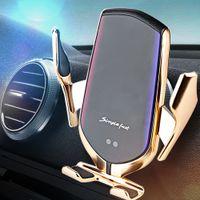 R2 QI 무선 자동차 충전기 자동 클램프 10W 빠른 충전 홀더 foriphone11pro xr xs forhuawei p30pro 적외선 센서 전화 마운트