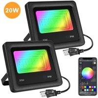 LED 홍수 빛 2 팩 RGB 색상 Chaning, 20W 무대 조명 블루투스 APP 제어, IP66 방수 디 밍이 16 만 컬러 (20 개) 모드
