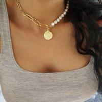 Collar Gargantilla elegante imitación de la perla de la Mujer Declaración collar de la manera Cadena de Oro regalos de joyería colgante collar de la moneda Hembra