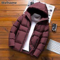 Мужские ветровки 2020 Зимние мужские хлопок-телогрейки ветровки с капюшоном утепленная куртка Толстая Man пальто проложенный Шинель Верхняя одежда