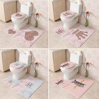 3adet Banyo Paspas Seti Yatak Shell Fleece Kaideye Kilim Seti Banyo Tuvalet Desen Banyo Mat Kaymaz Zemin Halı alfombra Cl200922