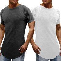 Curve Hem Slim Fit Streetwear maglietta degli uomini alla moda maglietta maschio SWAG T-shirt solido Maschio Hipster Hip Hop Homme SUPERA IL T