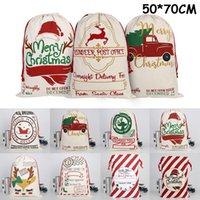 Noël Sac à cordonnet Père Noël sacs en toile Décorations festives Sacs de sucrerie de Noël Décorations de Noël cadeaux OOA8322
