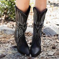 نساء منتصف العجل الغربية أحذية رعاة البقر أشار تو الركبة السحب الكبير على الأحذية أزياء السيدات جلدية للدراجات النارية أحذية بوتاس موهير D25 CX200820