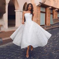 LORIE Princess Short Wedding Dress 2020 Strapless Puff Bride Dress A-Line Backless Mid-Calf Boho Wedding Gown