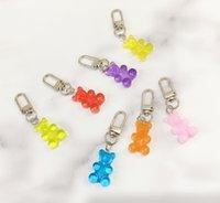 1PC 귀여운 수지 거미 곰 키 체인 여자 사탕 색 동물 곰 매력 열쇠 고리 소녀 이어폰 커버 보석 결혼 선물