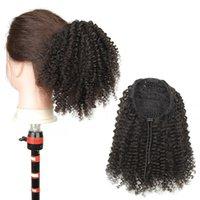 Soft человеческих волосы хвостиков волнистого фигурный хвост шиньон курчавая фигурный шнурок хвощ бразильский Remy волос 8A Grade 100G бесплатная доставка