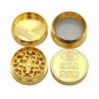 Grindero de hierba plateado en oro completo 40 mm 50 mm de diámetro con herbario seco Tabaco Smasher 4 partes Mano MULTER Fumar Smasher