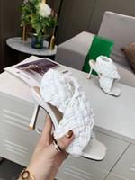 Nuovo 2020 punta tessuto tacco alto sandali peep toe tacco modo sottile pelle di pecora tacchi alti pantofole donne estate Size 35-42